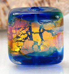 sapphire opal lampwork bead