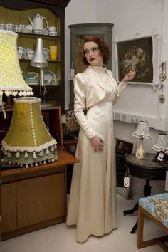 late 1930s duchess satin, backless with jacket