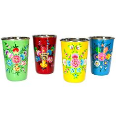 Love the detail and colors on these! Hand Painted Enamel Floral Tumblers, from Connect Fair Trade.