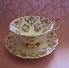 Vintage English Bone China Teacup and Saucer Queen by MiladyLinden
