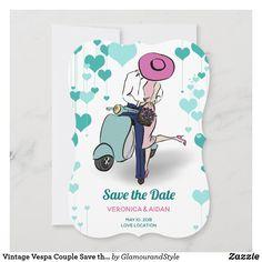 Vintage Vespa Couple Save the Date Fashion Illustration Vintage, Couple Illustration, Wedding Designs, Wedding Styles, Vintage Couples, Wedding Couples, Save The Date, Vintage Shops, Wedding Cards