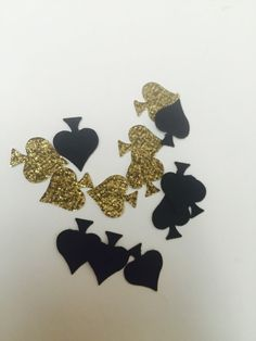 100 ct Black and gold spade confetti, for birthday party, baby showers, bridal showers,kate spade parties, casino party