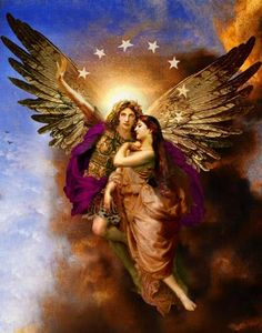 Desde mi respetuoso agnosticismo, esta preciosa imagen llamada San Miguel Arcángel escoltando una Alma hacia el Cielo, realmente me hace sentir...protegido.