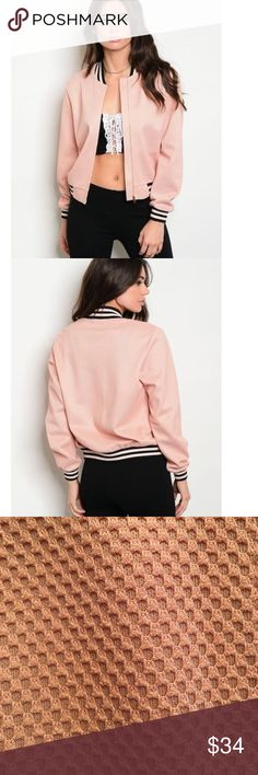 🆕Gorgeous Blush Pink Textured Bomber Jacket Brand new from distributor. Gorgeous blush pink color. Available in Small (0-2), Medium (4-6) and Large (8-10.) Jackets & Coats