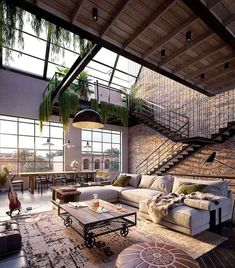 Urban Industrial Decor To A Stunning Place Wohnen im I. - Urban Industrial Decor To A Stunning Place Wohnen im Industrial Chic! Dream Home Design, Modern House Design, My Dream Home, Cool House Designs, Modern Houses, Dream Life, Glass House Design, Luxury Houses, New Yorker Loft