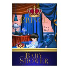 Elegant Baby Shower Boy Blue Little Prince Crown Personalized Invitation