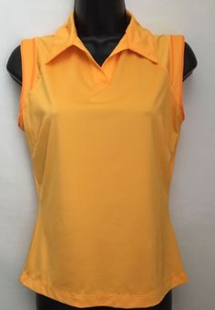 NIKE Dri-Fit Women's Sleeveless Golf Shirt Yellow Size S Polyester/Spandex #NIKE #ShirtsTops