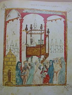 Golden age of Jewish culture in Spain - Image of a cantor reading the Passover story in Al Andalus, from the century Haggadah of Barcelona. Interesting Topics, Interesting History, David Y Jonatán, Bible Hébraïque, Passover Story, Spanish Inquisition, Les Religions, European History, History Medieval