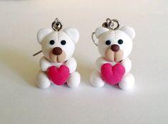 Teddy Bear Earrings Polymer clay Jewelry by polyclayday on Etsy
