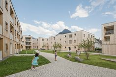 Housing Development Maierhof / Completed in 2019 in Bludenz Austria. Images by Hertha Hurnaus. In the Austrian alpine town of Bludenz in Vorarlberg have completed the housing development Maierhof. The estate is situated within a. Wooden Facade, Agricultural Buildings, Timber Buildings, Residential Complex, Residential Architecture, Surface Habitable, Listed Building, Construction, Mountain Landscape