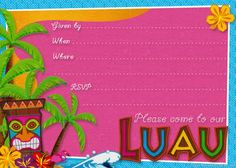 Free Printable Hawaiian Luau Party Invitations Birthday Shower Planning Center