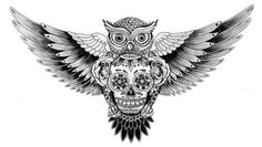 Owl/skull tattoo, possibility for my back? Just a little more realistic looking.