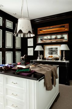 Black and white closet/dressing room