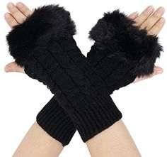 Simplicity Lady Sweet Faux Fur Hand Wrist Winter Warmer Knit Fingerless Gloves -- For more information, visit image link.