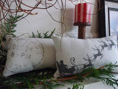 Christmas Pillow  Santa Pillow  Sleigh Pillow  by AnnadaisyDesigns, $19.00