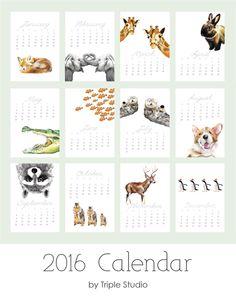 ON SALE / 2016 Calendar - Animal Art - Desk or Wall Calendar - 5x7 - Nursery Arts - Gift for Kid, Coworkers - New Year Gift by TripleStudio on Etsy https://www.etsy.com/listing/207791869/on-sale-2016-calendar-animal-art-desk-or