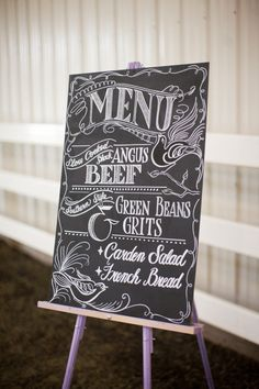 Love the choice of fonts for this chalkboard menu ;)  Photography by lauren-wakefield.com