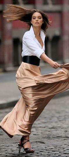 .Emily Diddonato in a sexy maxi skirt