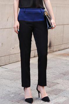 Color Block Fluided Ankle Pants $55.99 romwe.com #Romwe