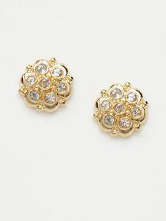 White Topaz & Gold Flower Stud Earrings, Anzie