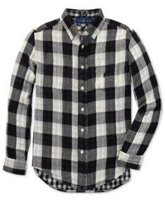 c5f6c2066894 Polo Ralph Lauren Big Boys Reversible Plaid Cotton Shirt   Reviews - Shirts    Tees - Kids - Macy s
