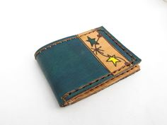 Handmade leather wallet  Colorful Stars by ArteEnCueros on Etsy, $27.00