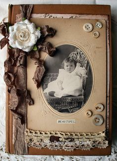 Shabby Rose altered book cover--could be a framed old photograph, or a page in an album