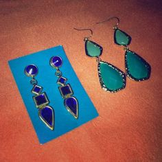 3 Shades of Blue Earring Lot Perfect pop of color to any outfit for any occasion! Royal blue/gold and Tiffany/turquoise and gold. Both Posh finds but never got around to wearing either of them. Price includes both pair. Bundle & save! Jewelry