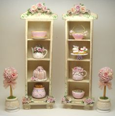 1/12TH scale shabby chic romantic roses shelf cabinet by by 64tnt, €55.00