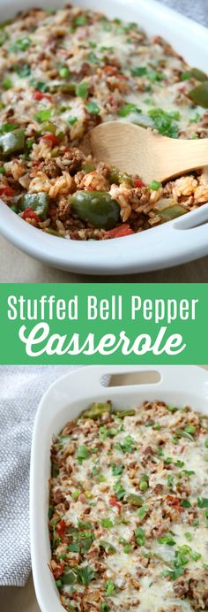 Stuffed Bell Pepper Casserole – this deconstructed stuffed pepper recipe is a cheap and easy dinner that won't break the budget! dinner recipes for kids Stuffed Bell Pepper Casserole - Blue Cheese Bungalow Stuffed Pepper Casserole, Green Pepper Casserole, Stuffed Pepper Recipes, Healthy Stuffed Bell Peppers, Green Pepper Recipes, Beef Stuffed Peppers, Bell Pepper Rice Recipe, Stuffed Bell Pepper Soup, Recipe For Stuffed Bell Peppers