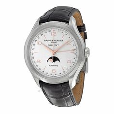 Baume and Mercier Clifton Silver Dial Moonphase Black Alligator Leather Mens Watch 10055