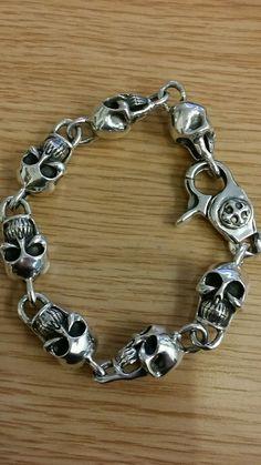 Chunky skull bracelet sterling silver RRP 610 27cm thick