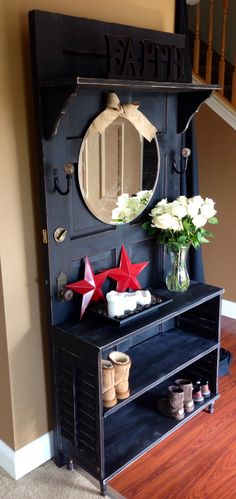 Antique door made into hall tree with handmade shelf and shutter shelf table.
