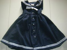Toddler Girls Nautical Sailor Preppy Dress with anchor buttons. $14.00, via Etsy.
