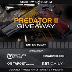 Click https://wn.nr/WKAj6V 4 the $3795 Nighthawk Predator 2 .45 Auto Pistol #giveaway from @GunWinner! #SeriouslyAwesomePistol #GATDaily