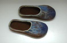 Handmade felted slippers Painting for men - Unisex - Brown Blue Mint green - 100% wool - men fashion - men home shoes - Gift for him They are