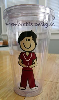 Annamarie - for you .... Personalized Acrylic tumbler MALE Nurse Dental by MemorableDesigns, $11.00