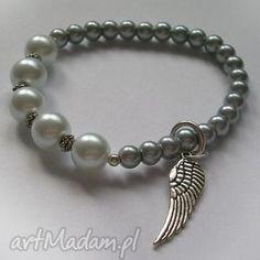 bransoletki szare perły - bransoletka, perły, skrzydła biżuteria
