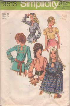MOMSPatterns Vintage Sewing Patterns - Simplicity 9513 Vintage 70's Sewing Pattern KILLER Boho Tie Front Keyhole Peekaboo Hippie Blouse Set, 5 Styles, Bell Sleeves Size 10
