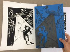 Alien abduction! #linocut print for fun by Leo Baker