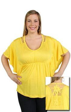 plus size kimono sleeve top with cinched waist & crochet back
