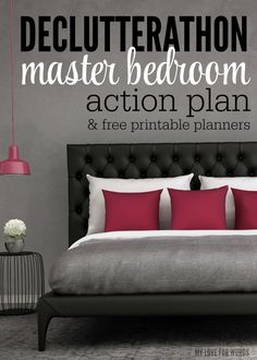 Finally create a relaxing haven with this Master Bedroom action plan & free printable planner.: Finally create a relaxing haven with this Master Bedroom action plan & free printable planner. Peaceful Bedroom, Dream Bedroom, Home Bedroom, Master Bedroom, Bedroom Decor, Bedroom Ideas, Junk Drawer Organizing, Organizing Tips, Pantry Labels