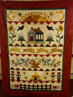 sampler applique quilt   birds, bees and  hive, bunnies, sunrise, flowers, house