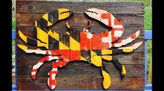 "md crab pallet | 26"" X 36"" Maryland Flag Crab Pallet Art"