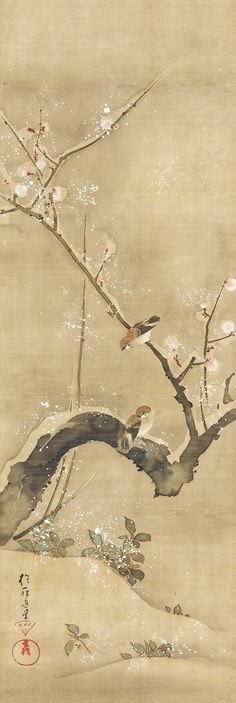December. Birds and Flowers of the Twelve Months. 酒井抱一. Sakai Hōitsu (Japanese, 1761–1828). Edo period (1615–1868). ca. 1817–28 Set of twelve Japanese hanging scrolls; ink, color, and gold paint on silk. Rinpa School