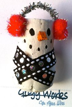Champagne Cork Snowman Pin by griggworks on Etsy, $2.50