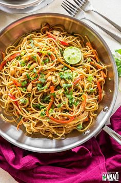 Vegetarian Thai Peanut Noodles are packed with delicious flavors. Easy to put together, this is an easy meal to make when life gets busy!