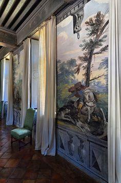Château de Fléchères - Fareins - Dombes - Ain. Fresques de la salle des Chasses de Pietro Ricchi du 17ème siècle