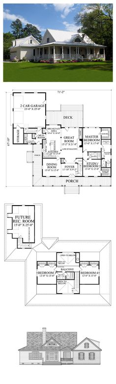 Country Style COOL House Plan ID: chp-47632 | Total Living Area: 2553 sq. ft., 4 bedrooms 3 bathrooms. How about coming home with me- to my lovely cottage near the sea. My parents will be there. My brothers as well, and you will laugh at the stories we tell. So, how about coming home with me and find out how happy we can be. #houseplan #countrystyle
