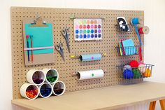 DIY Kids Craft Desk- OR... maybe jazz it up a bit for their study desks?  Could be really fun for the boys' room.